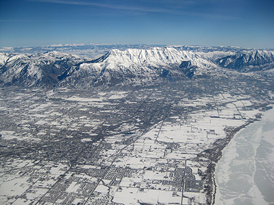 Flying over northern Utah County on the way home