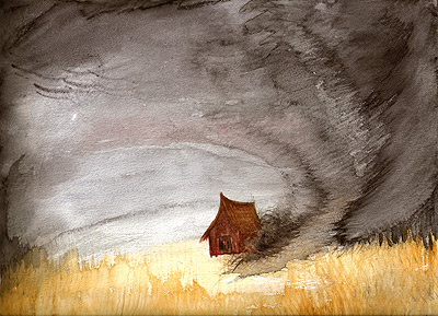 The Turner-esque watercolor project: we were to paint a storm and a man-made structure.  How could I not paint this?