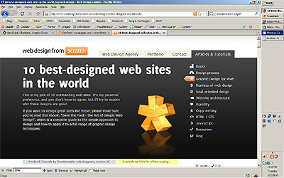 Screenshot of the 10 Best-Designed Web Sites in the World article