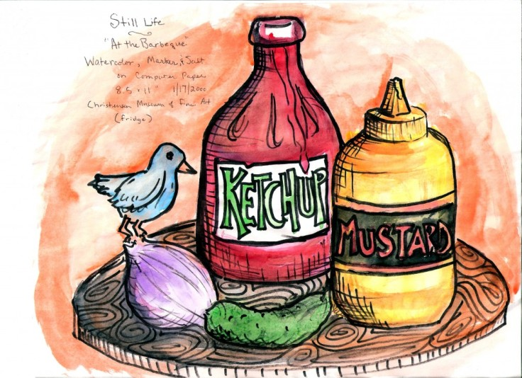 Ketchup, mustard, and onion, a pickle, and a bird. Drawn and watercolored by yours truly.