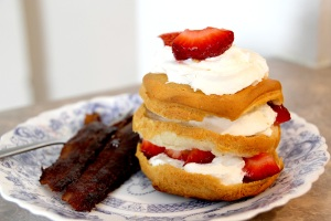 quick strawberry shortcake and burned bacon