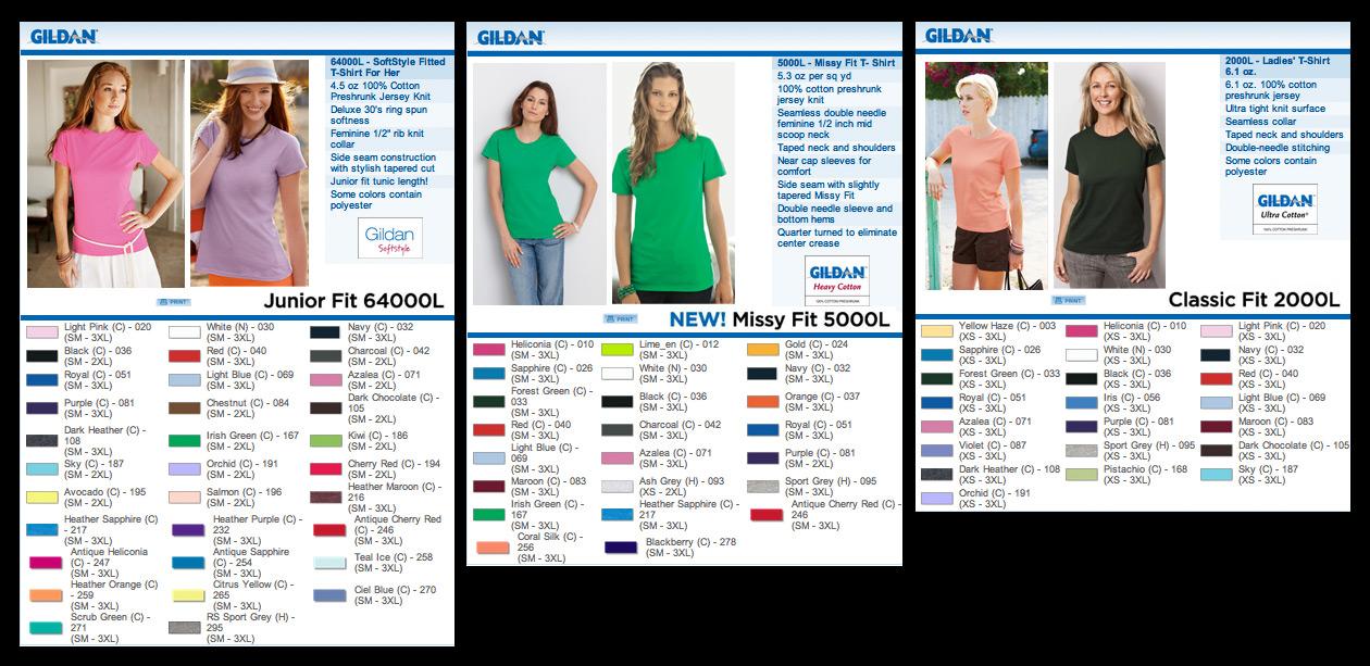 Gildan Ladies Color Chart Legend Of Velda