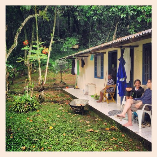 Taking refuge on a random old man's porch (He's a friend of the tour guide). We ate bananas and talked about life.